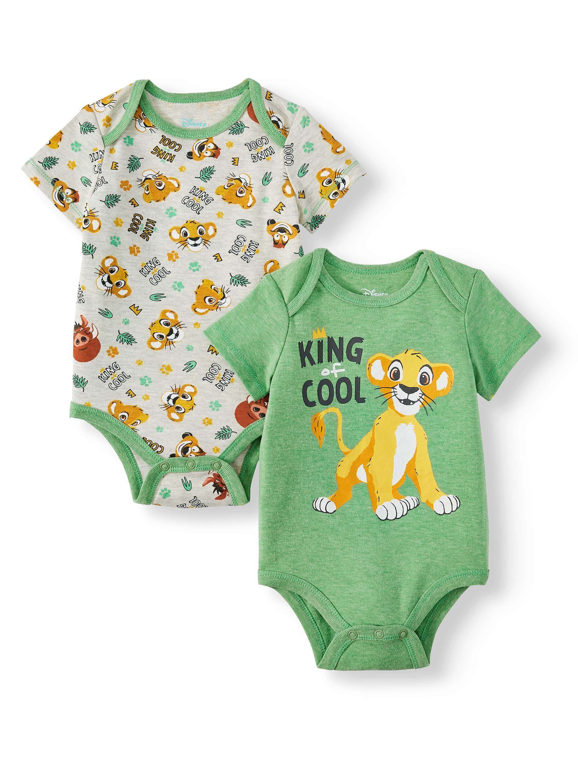 The Lion King 2-Pack Creeper Bodysuit King of Cool Set for Babies 0-3 Months