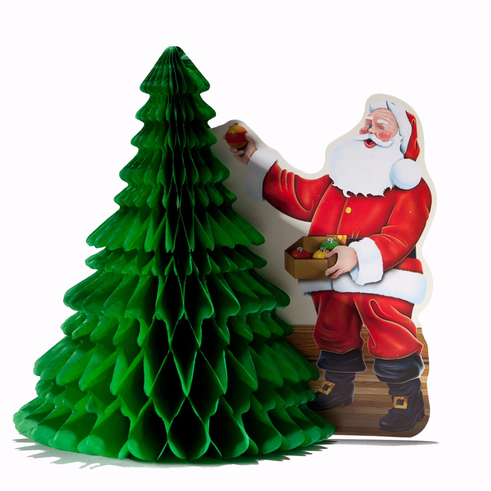 "11"" Santa With Christmas Tree Centerpiece Festive Holiday Party Decoration"