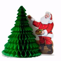 """11"""" Santa With Christmas Tree Centerpiece Festive Holiday Party Decoration"""
