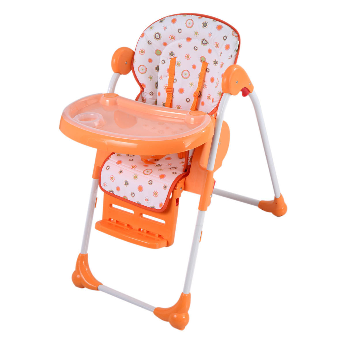 GHP 33-Lbs Capacity Orange Portable Folding Feeding Booster Seat Toddler High Chair