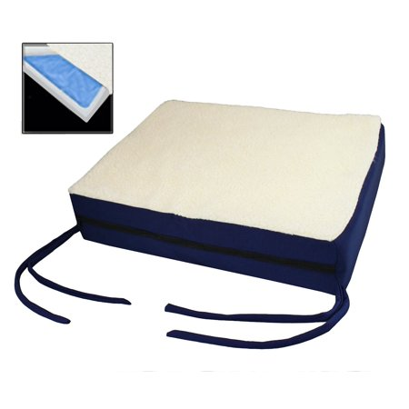 Posey Gel Foam Cushion - Premium Comfy Orthopedic Gel Memory Foam Seat Cushion Pad For Office Chair , Car , Wheelchair & More With Chair Ties