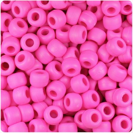 BeadTin Dark Pink Matte 9mm Barrel Pony Beads (Dark Pink Beads)