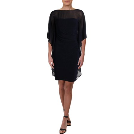 Lauren Ralph Lauren Womens Aianna Knee-Length Boatneck Capelet Dress