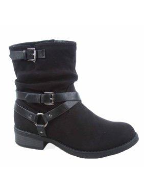 6f6257fae49c Product Image Bidoof Women s Buckle Zipper Low Heel Mid Calf Round Toe Combat  Boots Shoes. soda