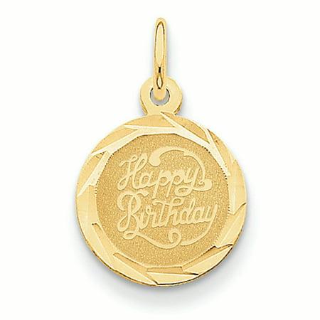 14K Yellow Gold Engravable Happy Birthday in Disc Charm Pendant