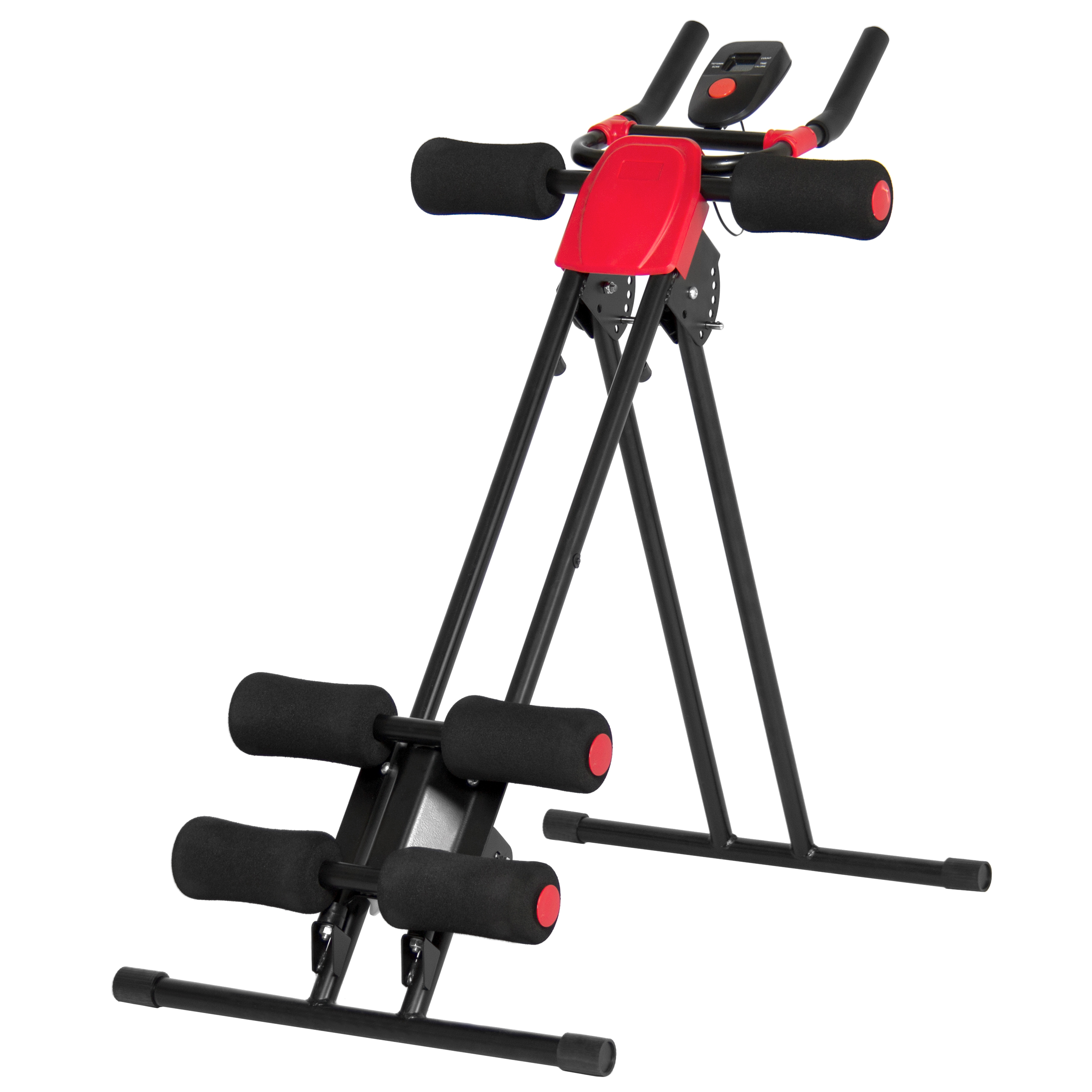 Best Choice Products Adjustable Abdominal Trainer Core Ab Cruncher W/ LCD Display - Red/Black