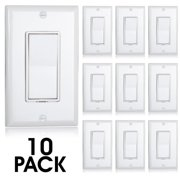 Maxxima 3 Way Decorative Wall Switch On/Off White, Wall Plates Included (Pack of 10)