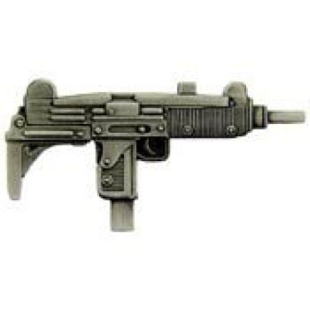 Metal Lapel Pin - Gun/Weapon Pin - Large Gun - UZI Submachine Gun 2-1/4