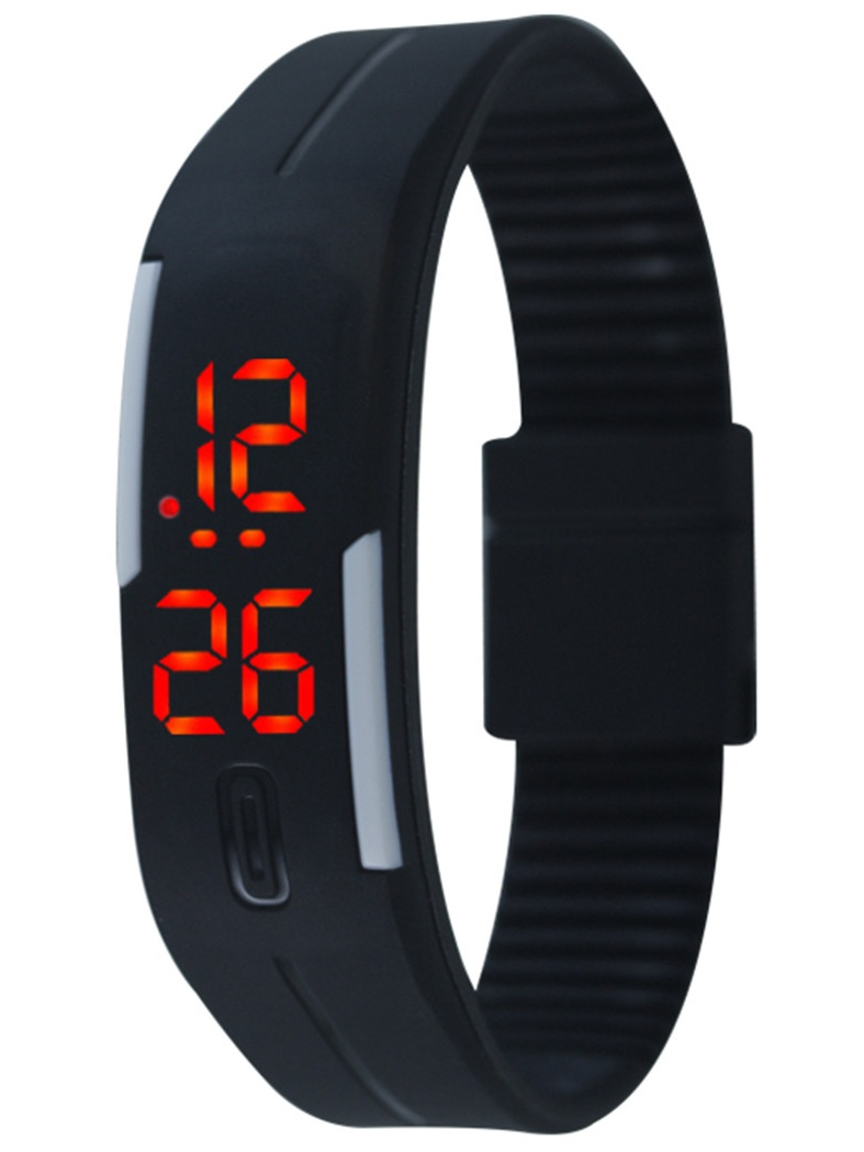 Sports Watch, Coxeer LED Screen Casual Sports Bracelet Wristband Fitness Watches for Men Women(Black)