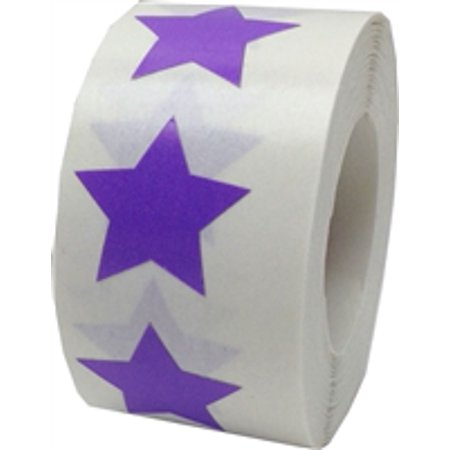 Purple Star Stickers, 3/4 Inch Wide, 500 Labels on a Roll - Star Stickers