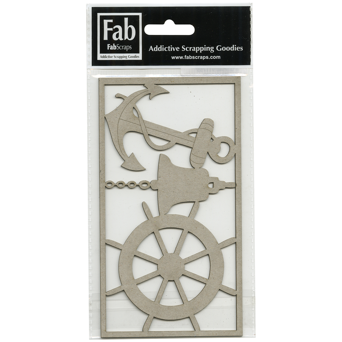 "FabScraps Beach Bliss Die-Cut Gray Chipboard Shape-Anchor, Bell, Ship Wheel, To 3.25""""X3.25"""""