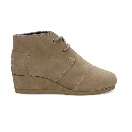 Toms Desert Wedges (Kids Toms Girls Desert Wedge Low Top Lace Up, Taupe Suede, Size 2 Little Kid)