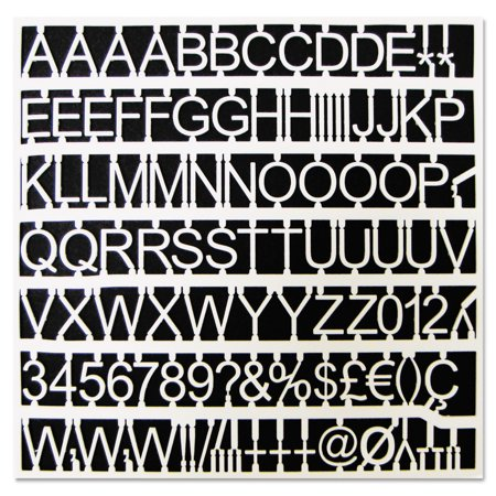 MasterVision White Plastic Set of Letters, Numbers & Symbols, Uppercase, 1