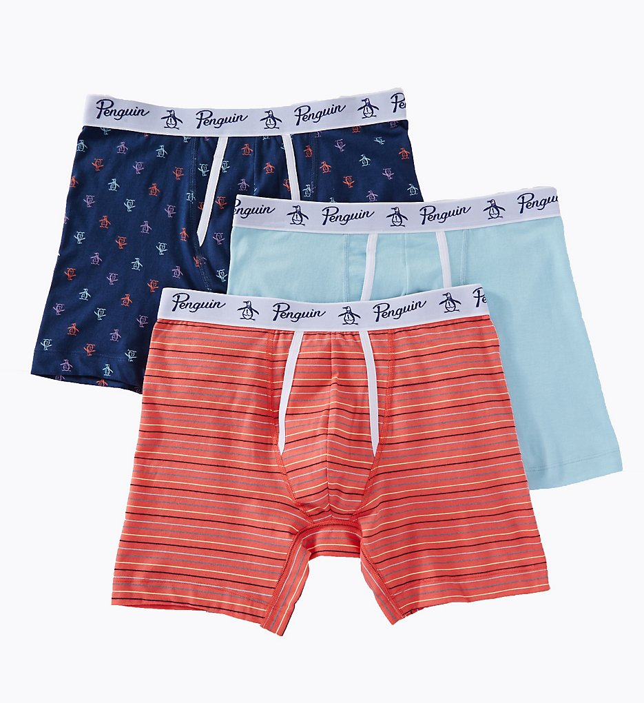 Original Penguin RPM8205 100% Cotton Assorted Boxer Briefs - 3 Pack