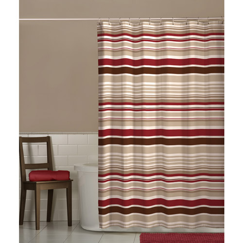 Maytex Meridian Fabric Shower Curtain, Red