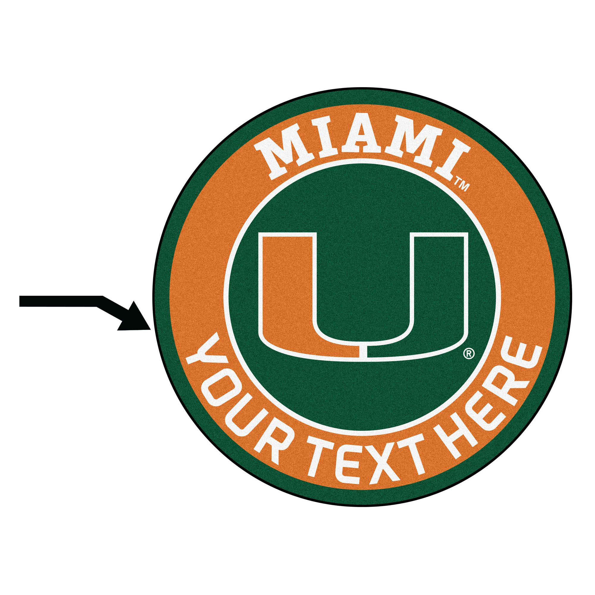 Personalized University of Miami Roundel Mat