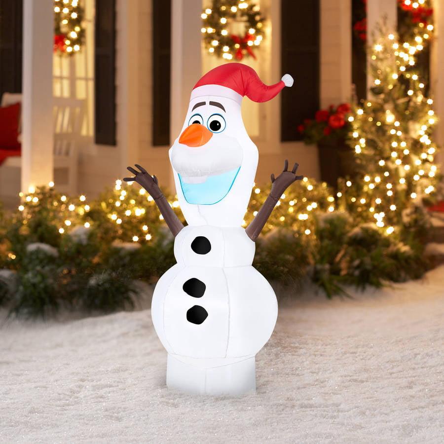 5 Airblown Inflatable Standing Olaf In Santa Hat Disney