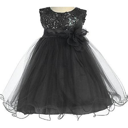 Little Baby Girl Dress Stunning Sequin Tulle Infant Toddler Flower Girl Dress Black Black Flower L (K31D5) - Red Dress For Infant