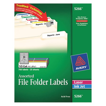 Avery Laserx2finkjet Label 5266 File Folder Pk25 5266