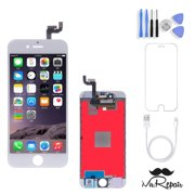 iPhone 6s Screen Repair Kit Premium w/ Tools (White) LCD Touch Screen Display Assembly and Replacement | Replace Cracked, Broken, Dead Pixels