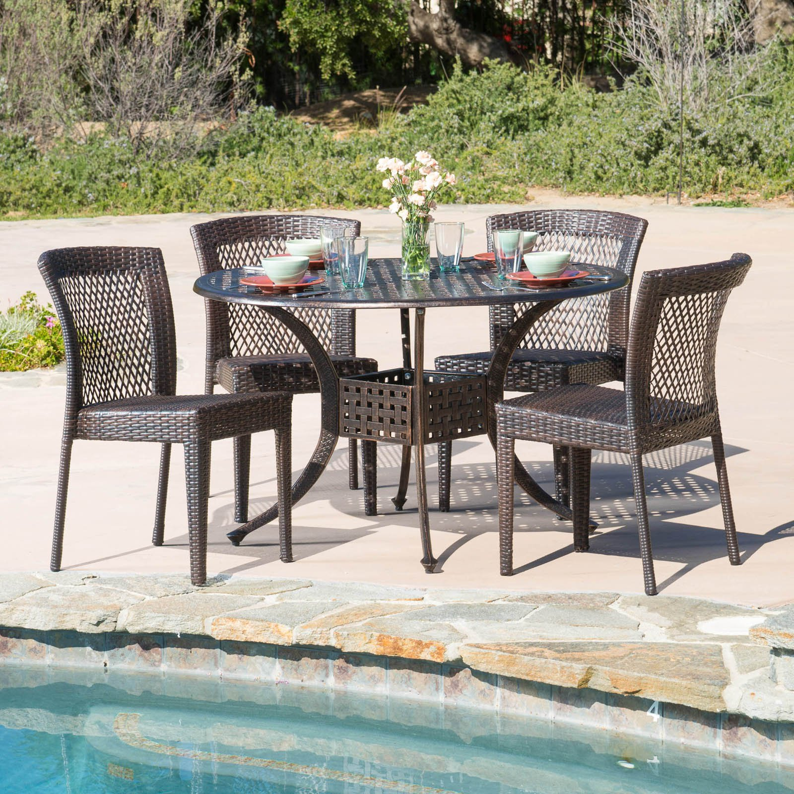 Alyssa Wicker 5 Piece Round Patio Dining Set