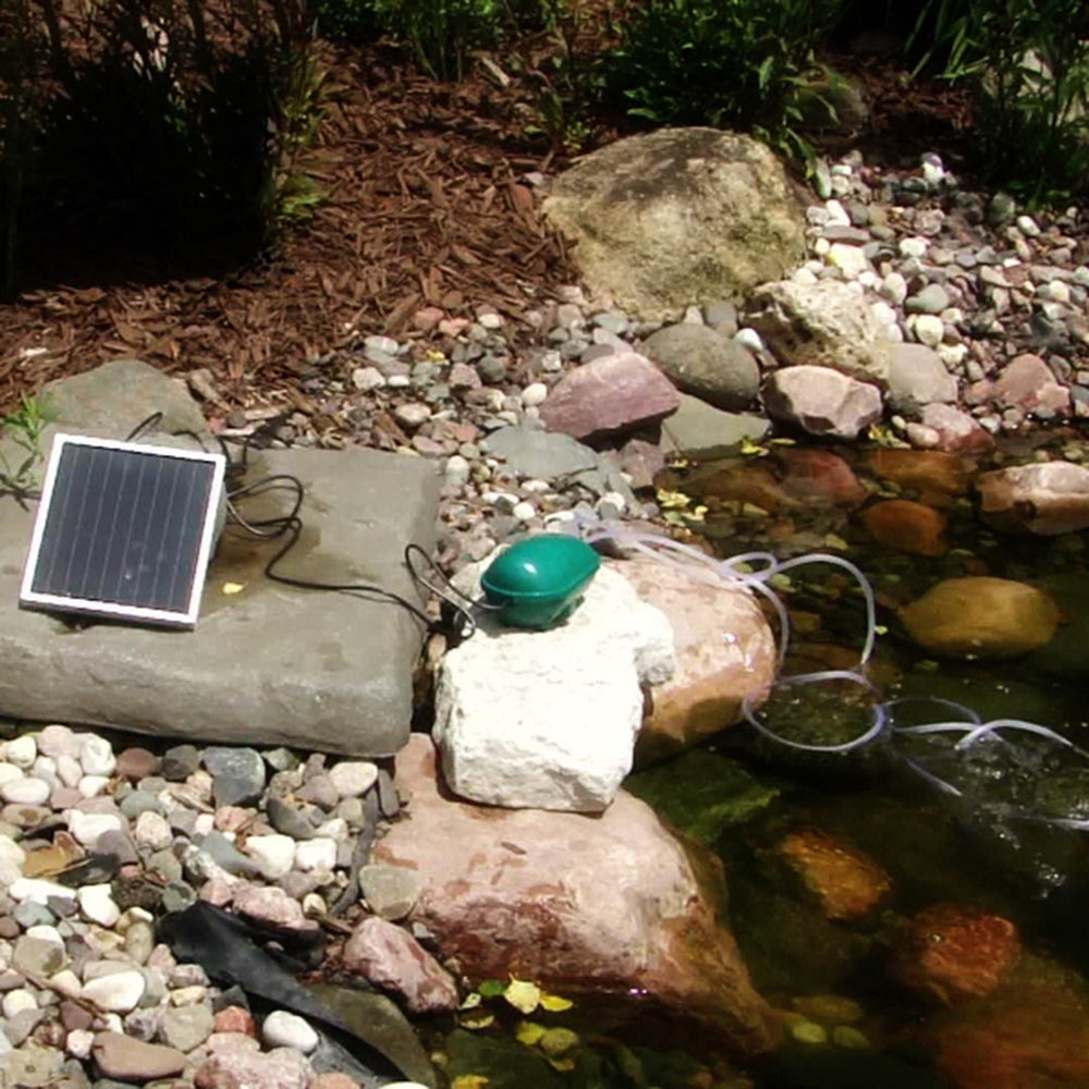 Sunnydaze Solar Pond Oxygenator Plus Air Pump Outdoor with Battery Pack, 52 GPH - For Aquarium, Fish Tank, or Fishing