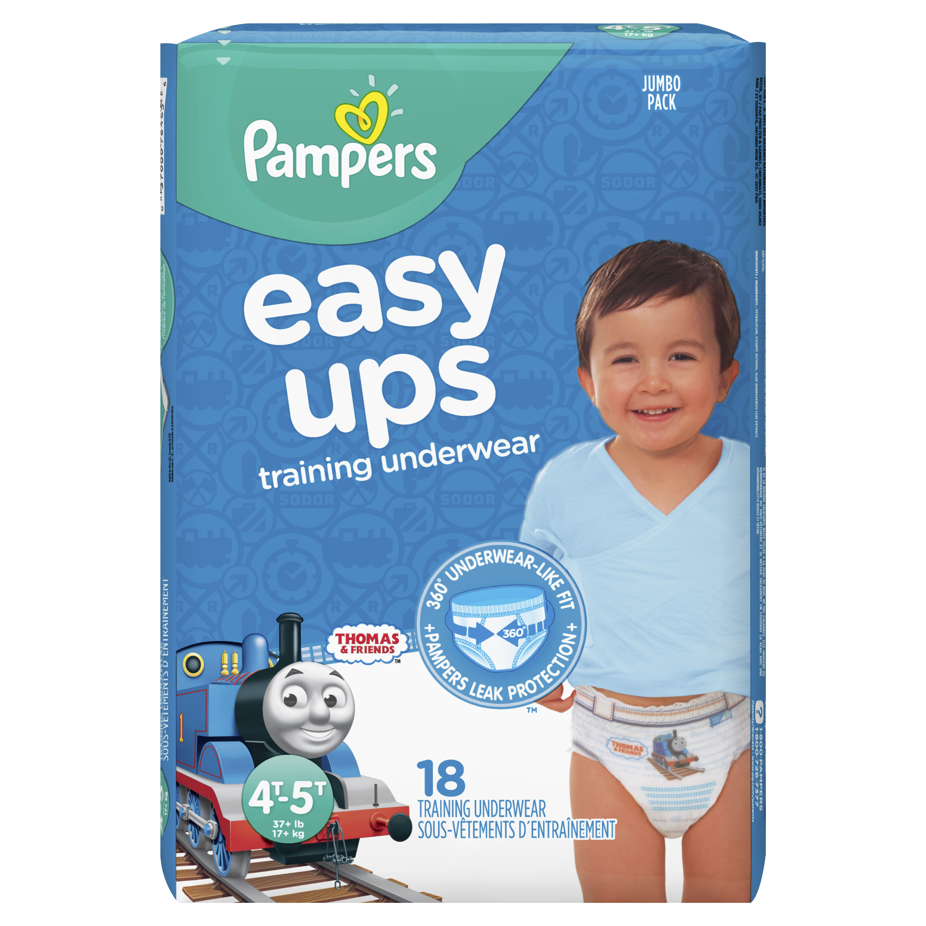 Pampers Easy Ups Training Underwear Boys Size 6 4T-5T 18 Count
