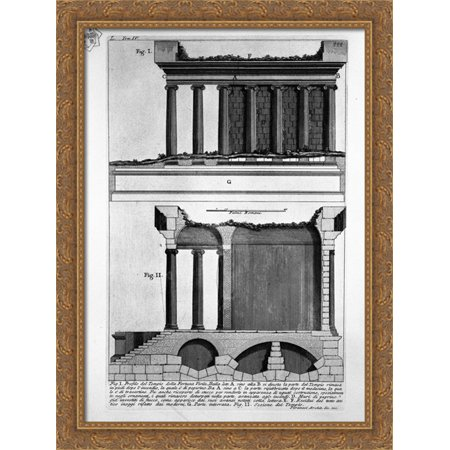 The Roman Antiquities  T  4  Plate L  Vista Of The Menagerie Of Wild Beasts Made   By Domitian To Use The Amphitheater 28X38 Large Gold Ornate Wood Framed Canvas Art By Giovanni Battista Piranesi