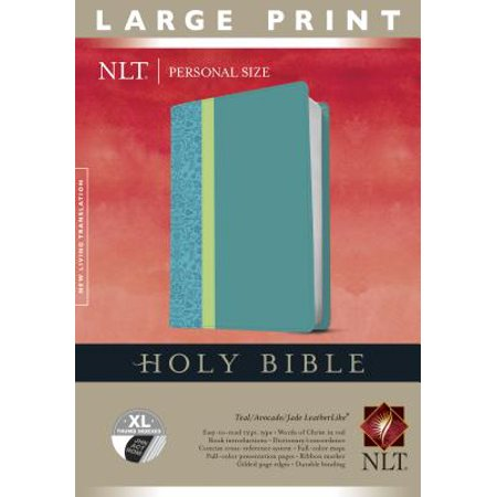 Holy Bible NLT, Personal Size Large Print edition, TuTone (Red Letter,  LeatherLike, Teal, Indexed)