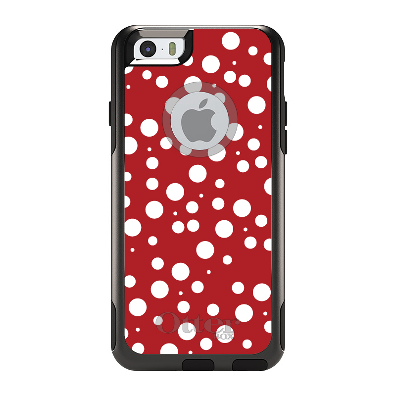 """DistinctInk™ Custom Black OtterBox Commuter Series Case for Apple iPhone 6 Plus / 6S Plus (5.5"""" Screen) - Red White Bubbles Polka Dots"""