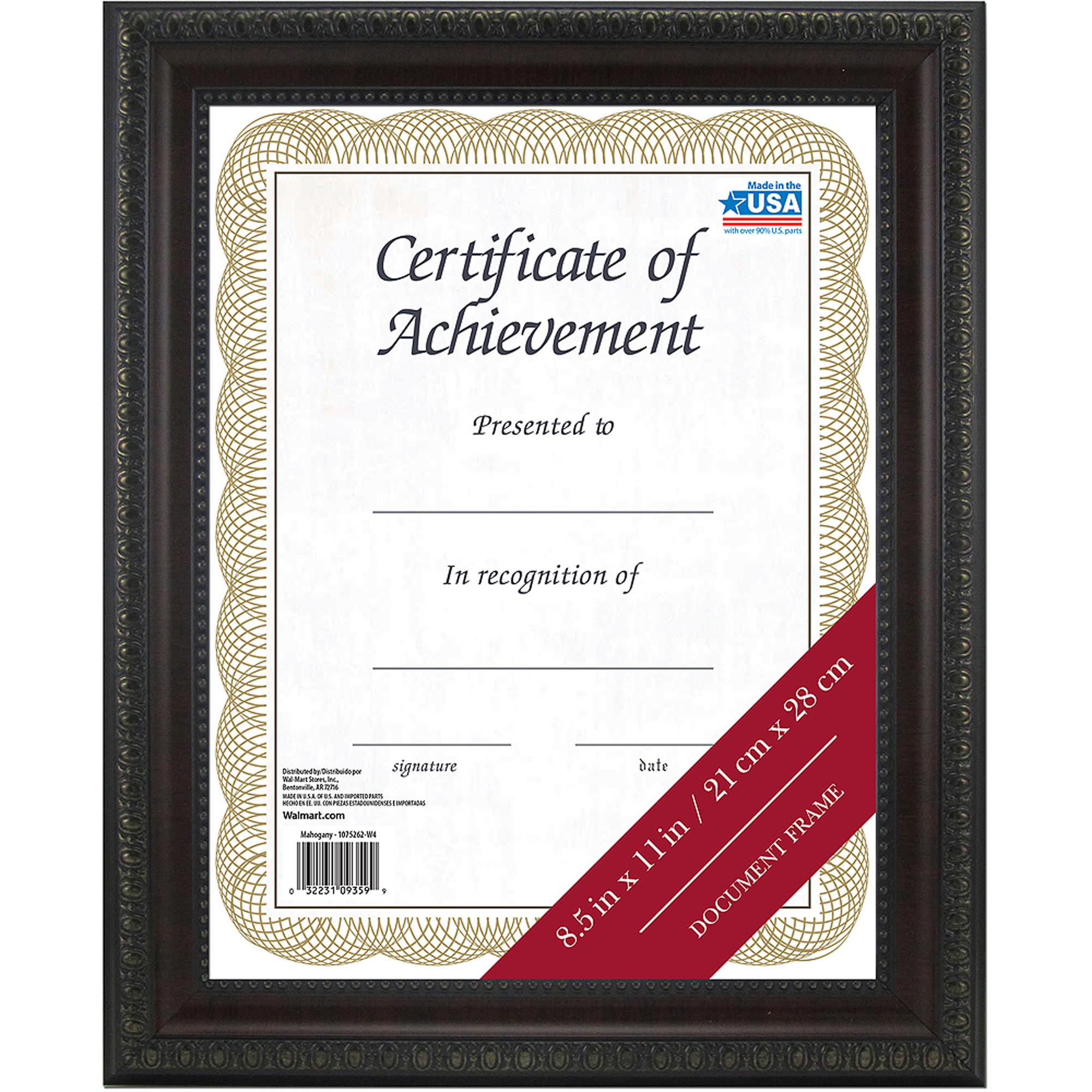 Mainstays 8.5x11 Mahogany Document Frame - Walmart.com
