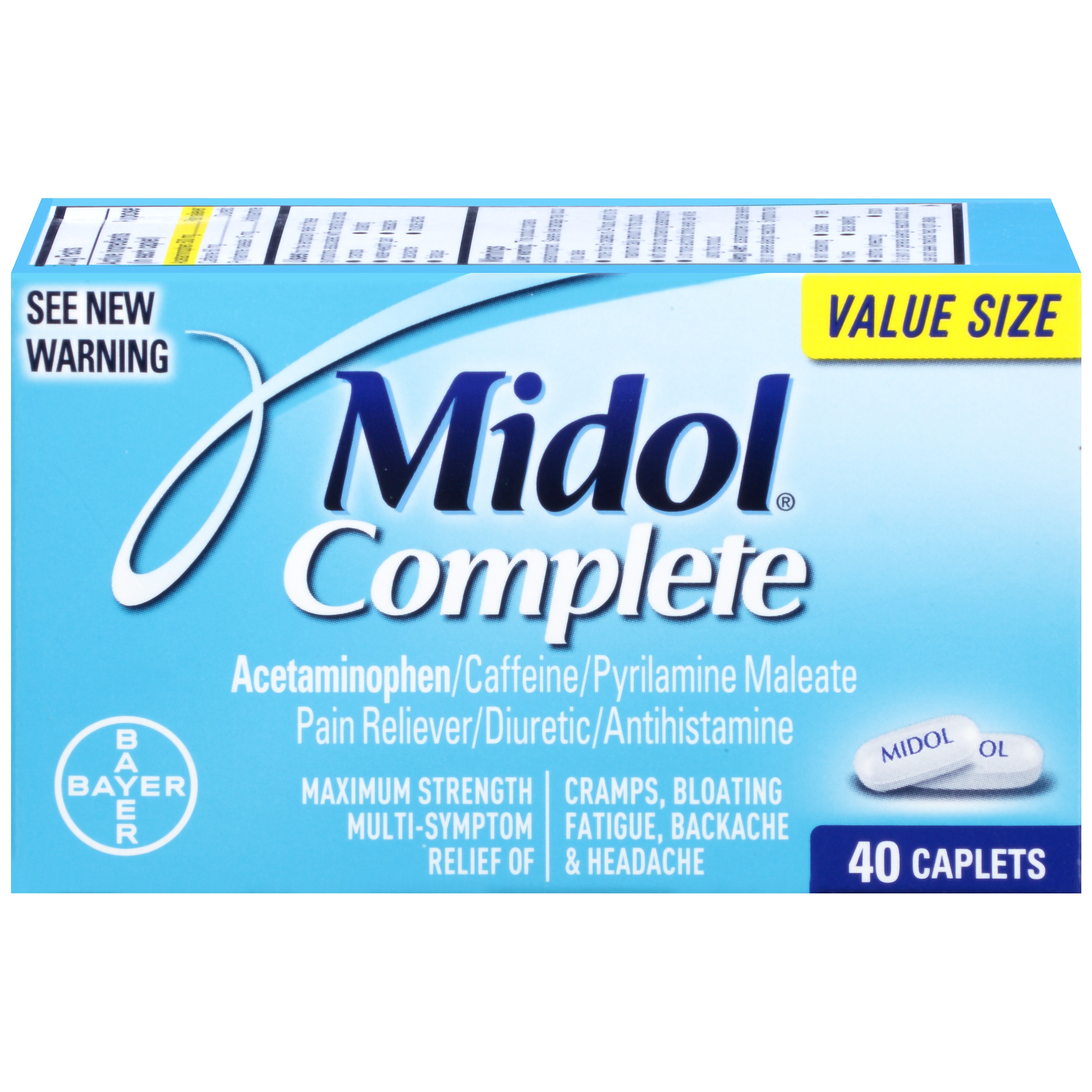 Midol Complete, Menstrual Period Symptoms Relief, Caplets, 40 Count