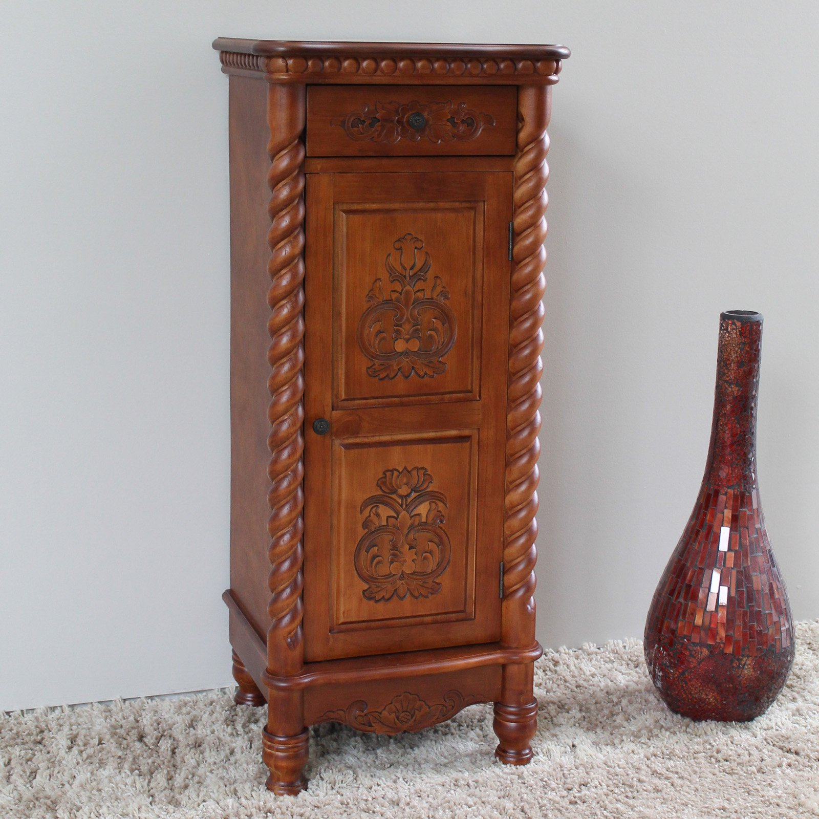 International Caravan Windsor Hand Carved Walnut Stain Decorative Chest