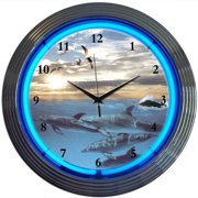 Neonetics Bar and Game Room 15'' Dolphins at Sea Wall Clock