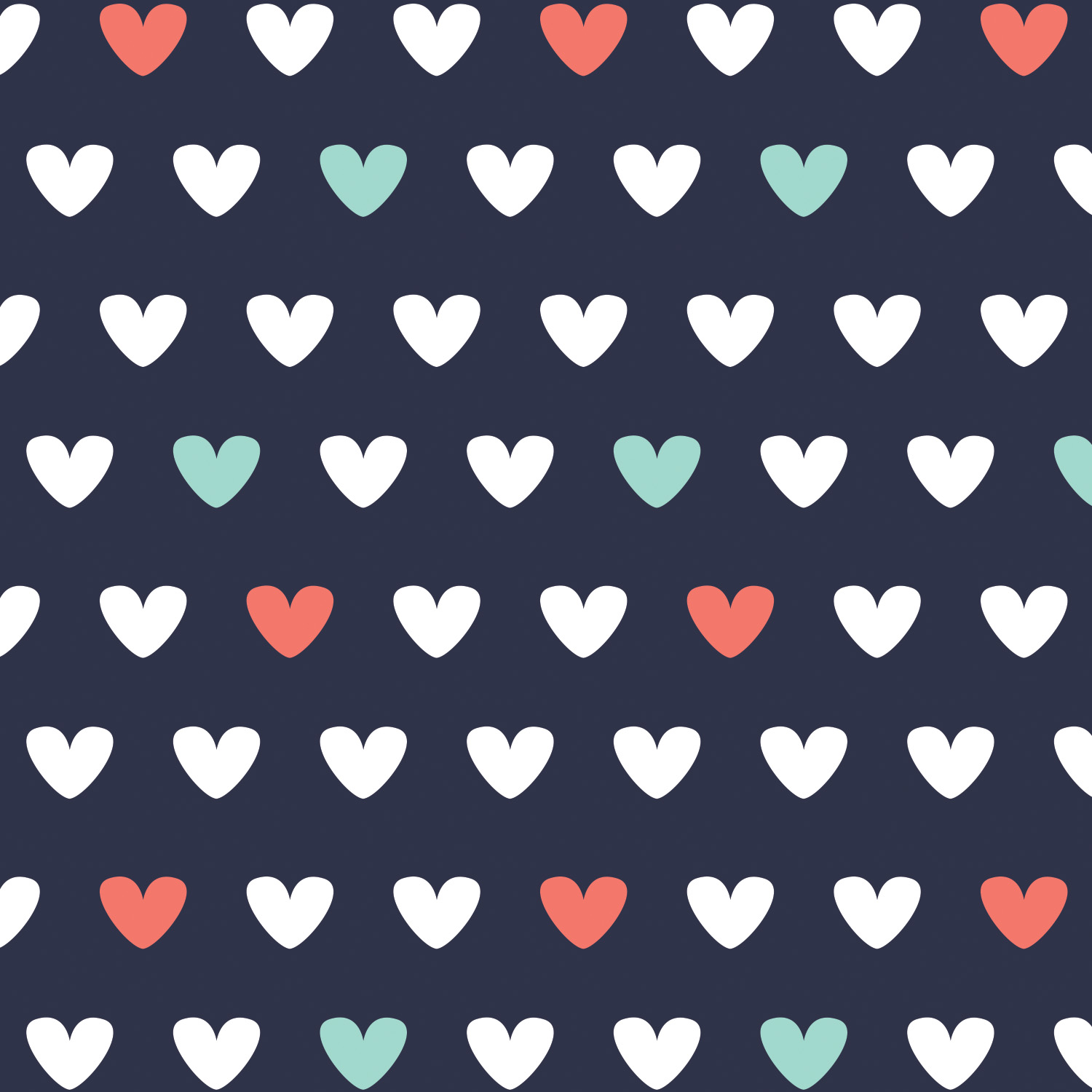 Emma and Mila - Flannel Hearts in Navy