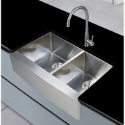 Stufurhome 33'' x 21'' Farmhouse Apron Double Basin Kitchen Sink