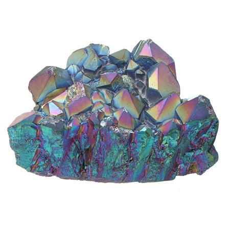 Purple Rainbow Aura Quartz Natural Point Cluster Gemstone Crystal Home Decor Rainbow Aura Quartz