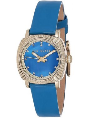 Women's Blue Leather Band With Mother Of Pearl Dial Watch 10025305