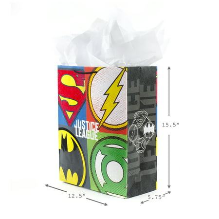 Hallmark Extra Large Justice League Gift Bag with Tissue Paper (Superhero Logos)