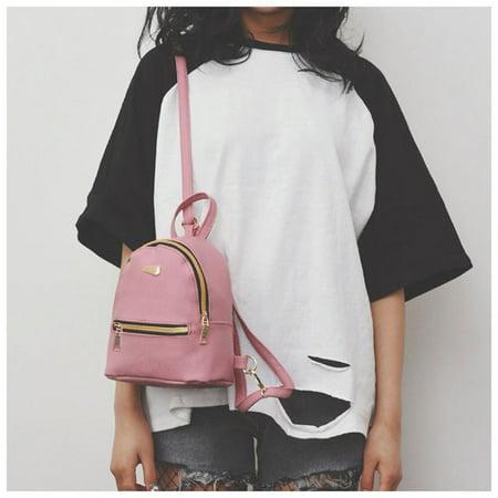 Women Backpack Purse Pu Washed Leather Ladies Rucksack Shoulder Bag Pink - image 2 of 9