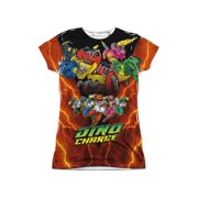 Power Rangers - Zord Power (Front/Back Print) - Juniors Cap Sleeve Shirt - Small