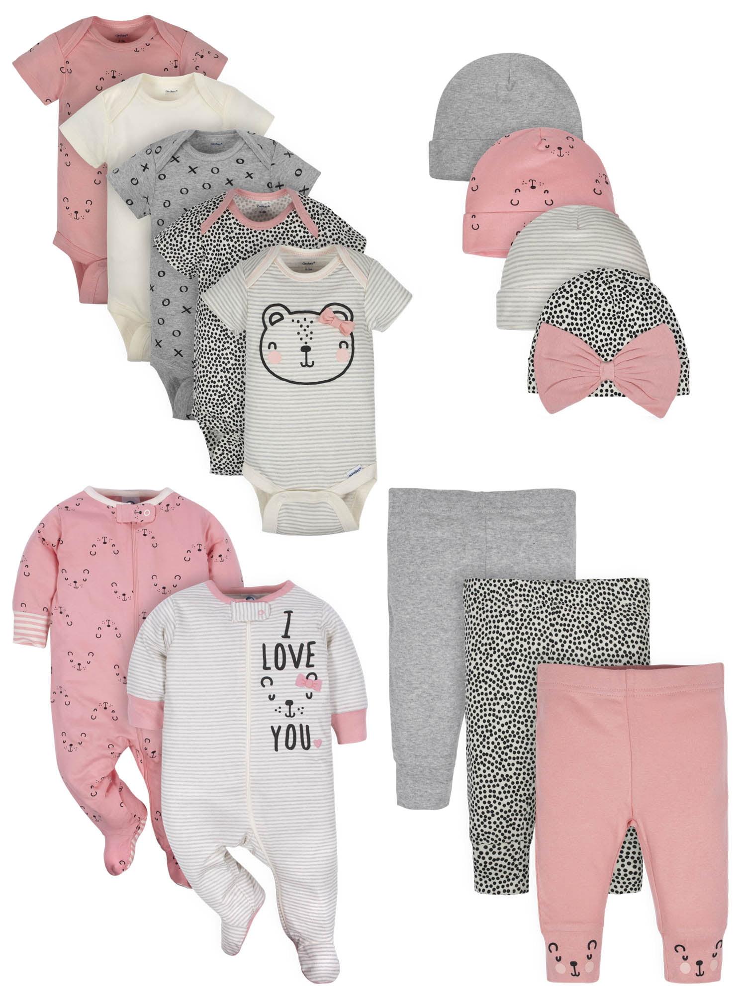 Little Birdie Gerber Baby Girls 6-Piece Gown Sleep N Play and Cap Set Newborn