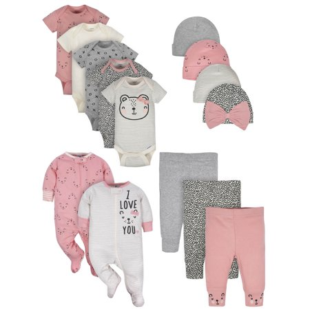 Gerber Organic Onesies, Pants, Sleep 'N Play, and Caps Outfit Set, 14pc (Baby Girls) (Glitter Onesie)