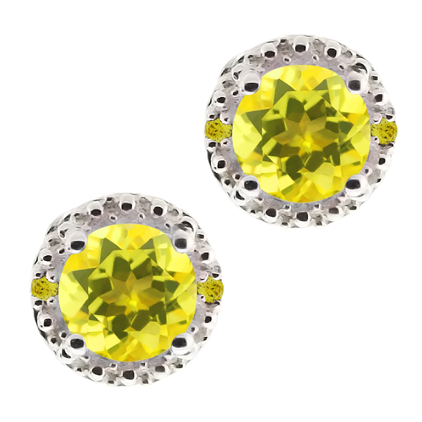 2.02 Ct Round Canary Mystic Topaz and Canary Diamond 14k White Gold Earrings