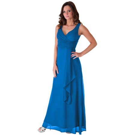 Faship V-Neck Long Evening Gown Forma Dress S-4XL Blue -