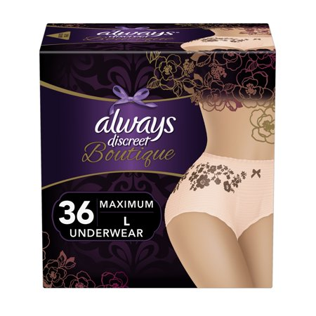 Always Discreet Boutique, Incontinence Underwear for Women, Maximum Protection, Peach, Large, 36 Count (Discreet Bladder Protection Underwear)