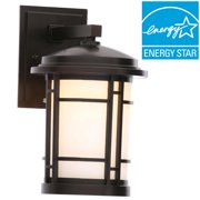 World Imports 7 in. Burnished Bronze Outdoor Integrated LED Wall Mount Sconce with White Opal Glass