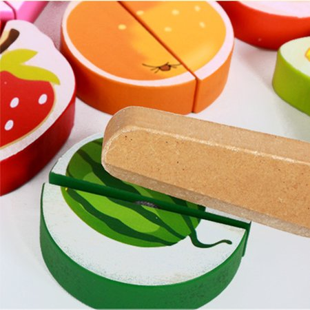 Wooden Fruit and Vegetables Play Kitchen Food for Pretend Cutting Food Toys Educational Playset with Toy Knife, Cutting Board Kids Children Christmas Gift - image 3 of 6