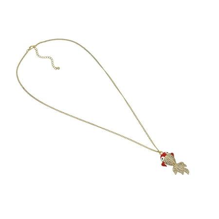Rhinestone Encrusted Goldfish Necklace Koi - image 3 de 4