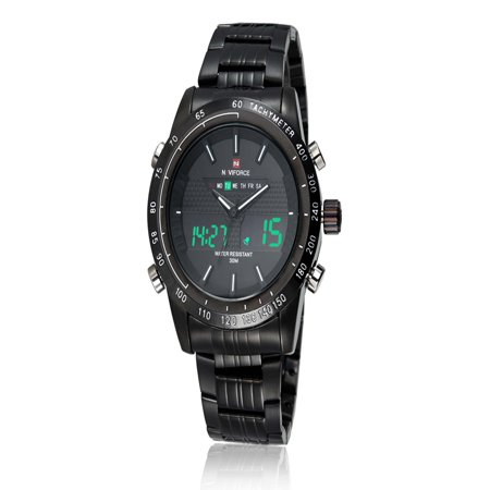 NAVIFORCE Stainless Steel 3ATM Waterproof Fashion Wristwatch Dual Time Quartz Sports Men Watch with Function of Backlight Alarm Calendar Stopwatch
